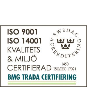 Ikon för kvalitets- och miljöcertifiering enligt ISO 9001 och ISO 14001.